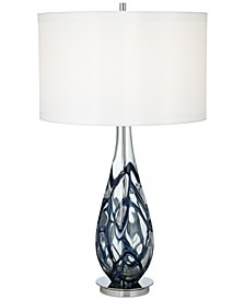 Pacific Coast Indigo Swirl Art Glass Table Lamp