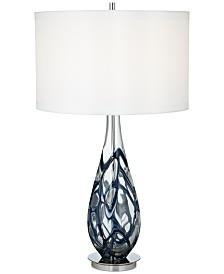 Pacific Coast Indigo Swirl Art Glass Table Lamp