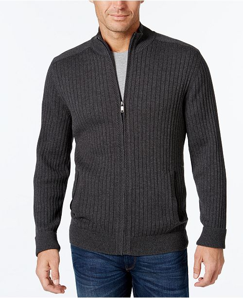Alfani Mens Ribbed Full Zip Sweater Classic Fit Created For
