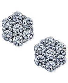 Diamond Flower Stud Earrings (1 ct. t.w.) in 14k White Gold