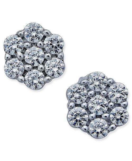 Diamond Flower Stud Earrings 1 Ct T W In 14k White Gold