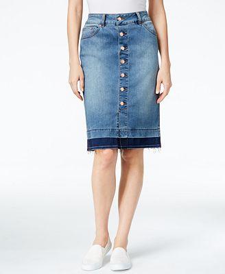 JAG Button-Front Denim Pencil Skirt - Skirts - Women - Macy's