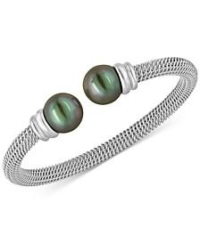 Bracelet, Organic Man Made Black Pearl and Stainless Steel Bangle Bracelet