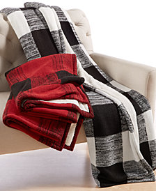 CLOSEOUT! Martha Stewart Collection Sweater-Knit Buffalo Check Throw, Created for Macy's