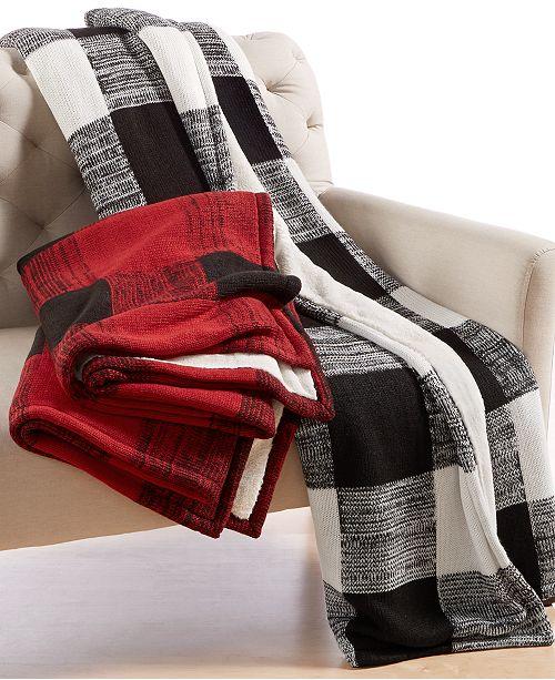 Martha Stewart Collection CLOSEOUT! Sweater-Knit Buffalo Check Throw, Created for Macy's