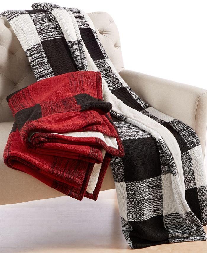 Martha Stewart Collection - Sweater-Knit Buffalo-Plaid Throw