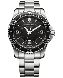 Men's Swiss Maverick Stainless Steel Bracelet Watch 43mm 241697