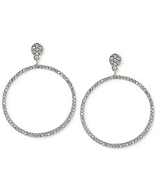 Carolee Silver-Tone Pavé Gypsy Hoop Earrings
