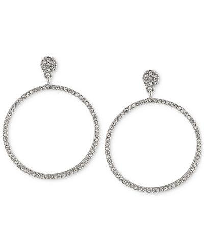 Carolee Silver-Tone Pavé Gypsy Hoop Earrings