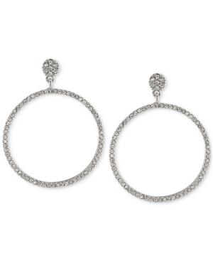 Carolee Silver-Tone Pave Gypsy Hoop Earrings