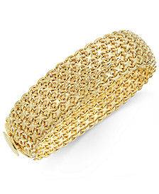 Italian Gold Wide Mesh Link Chain Bracelet In 14k