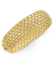 Italian Gold Wide Mesh Link & Chain Bracelet in 14k Gold