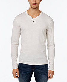 Alfani Men's Heather Long-Sleeve Split Crewneck T-Shirt, Created for Macy's