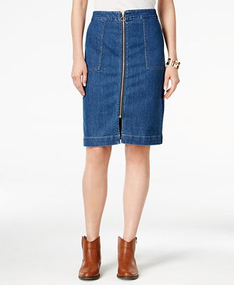 Style & Co. Zip-Front Denim Skirt, Only at Macy's - Skirts - Women ...