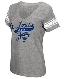 G-III Sports Women's St. Louis Blues Sleeve Stripe Tailsweep T-Shirt