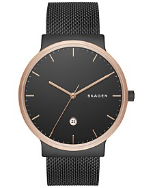 Skagen Men's Ancher Black Stainless Steel Mesh Bracelet Watch 40mm SKW6296