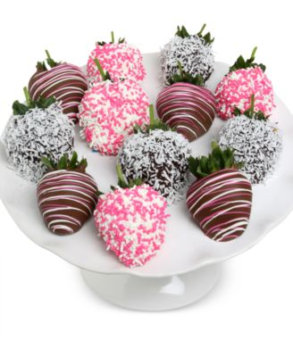 12-Pc. Baby Girl Belgian Chocolate Covered Strawberries