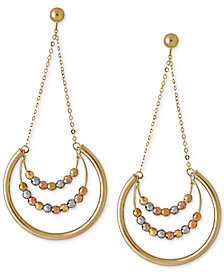 Italian Gold Beaded Trapeze Drop Hoop Earrings in 14k Yellow, White and Rose Gold, 1 4/5 inch