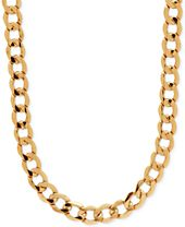 """Italian Gold 22"""" Curb Link Chain 22"""" Necklace in 10k Gold"""