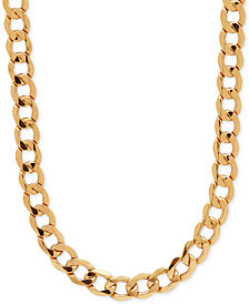 "Italian Gold 22"" Curb Link Chain Necklace (7mm) in 10k Gold"