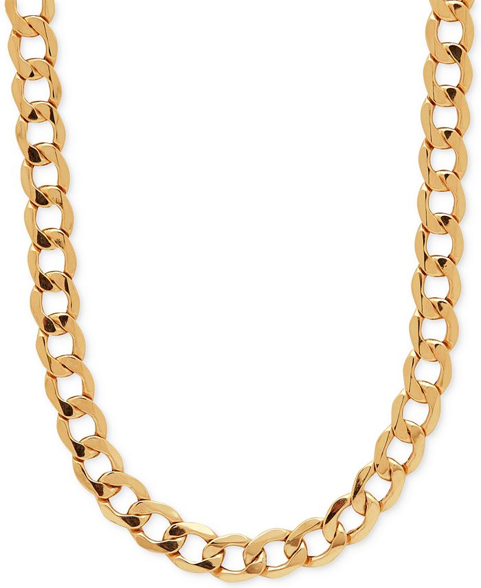Italian Gold - Men's Curb Link (7mm) Chain Necklace in Italian 10k Gold