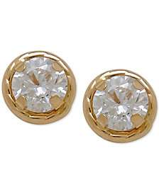 Children's Round Crystal Stud Earrings in 14k Gold