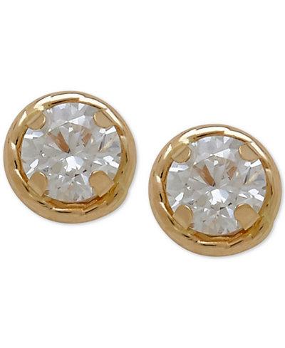 Children's Round Crystal Stud Earrings in 14k Gold