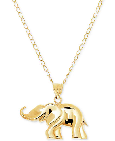 Elephant pendant necklace in 10k gold necklaces for Macy s jewelry clearance