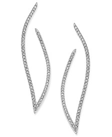 """Pavé Contoured Open Hoop 1 13/16"""" Post Earrings, Created for Macy's"""