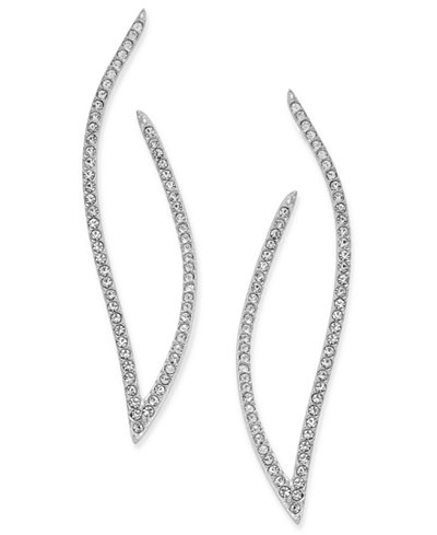 Danori Pavé Contoured Open Hoop Post Earrings, Created for Macy's
