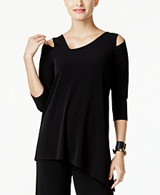 Alfani Petite Asymmetrical Cold-Shoulder Top, Created for Macy's