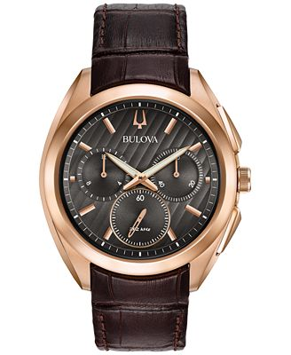 Bulova Men's Chronograph CURV Brown Leather Strap Watch 45mm 97A124