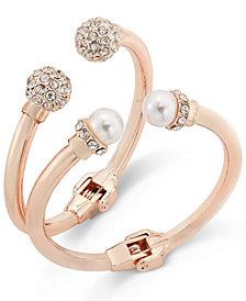 I.N.C. Imitation Pearl and Crystal Fireball Hinge Bracelet Set, Created for Macy's