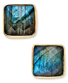 Paul & Pitü Naturally 14k Gold-Plated Brass Labradorite Stud Earrings