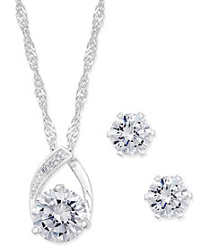Charter Club Silver-Tone Crystal Pendant Necklace and Earrings Set, Created for Macy's