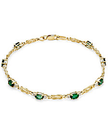 Emerald (1-3/4 ct. t.w.) and Diamond (1/10 ct. t.w.) Link Bracelet in 14k Gold