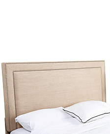Haber Full/Queen Nailhead Trim Linen Headboard, Quick Ship