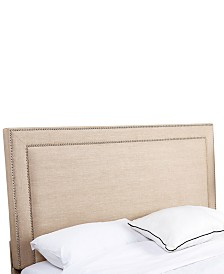Haber King/California King Nailhead Trim Linen Headboard, Quick Ship