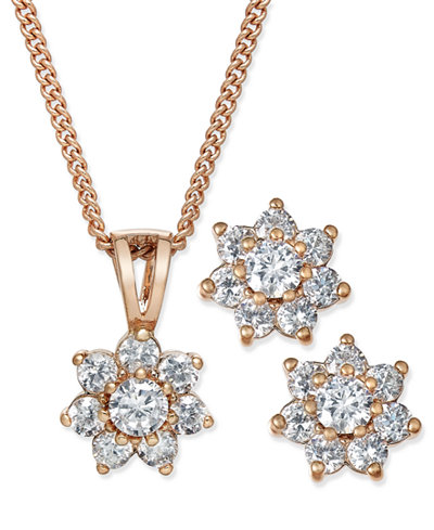 Chater Club Cubic Zirconia Flower Pendant Necklace and Earrings Set, Created for Macy's