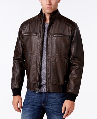 Calvin Klein Men's Big & Tall Faux-Leather Stand-Collar Bomber ...