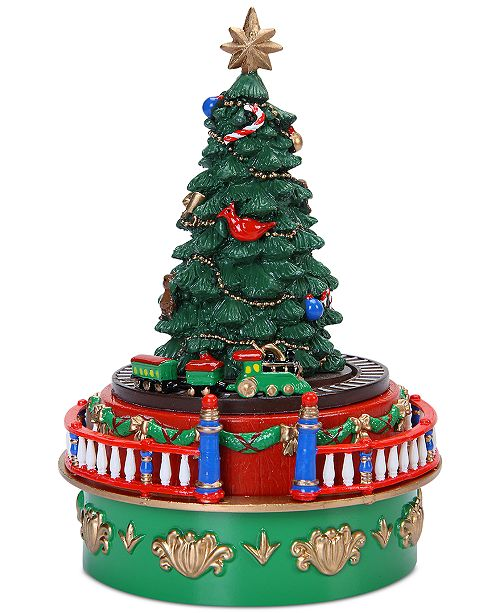 Christmas Tree Train.Mini Carnival Christmas Tree With Train Music Box