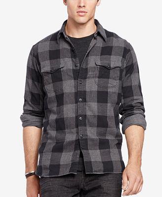 Polo ralph lauren men 39 s big tall plaid workshirt for Polo ralph lauren casual button down shirts