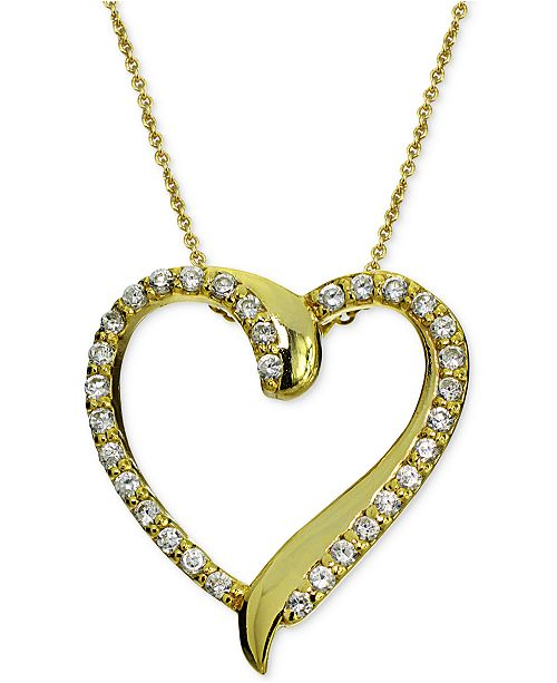 984023ecac1 Cubic Zirconia Heart Pendant Necklace in 18k Gold-Plated Sterling Silver,  Created for Macy's
