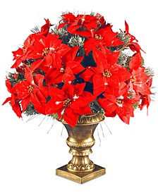 "26"" Fiber Optic Ice  Crestwood Spruce Bush with Poinsettia"