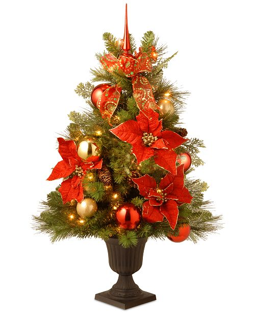 "National Tree Company 36"" Decorative Home For the Holidays Entrance Tree with 50 Clear Lights"