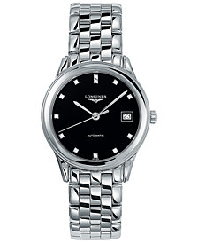 Longines Men's Swiss Automatic Flagship Diamond Accent Stainless Steel Bracelet Watch L47744576