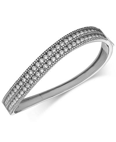 Nina Silver-Tone Crystal Contoured Cuff Bracelet