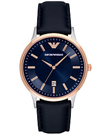 Emporio Armani Men's Blue Leather Strap Watch 43mm AR2506