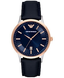 Emporio Armani Men's Blue Leather Strap Watch 43mm AR2506