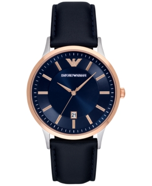 Emporio Armani Men's Renato Blue Leather Strap Watch 43mm AR2506